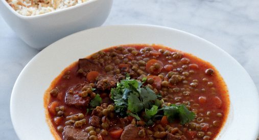 Amera's Bezela Wa Roz (Pea & Meat Stew)